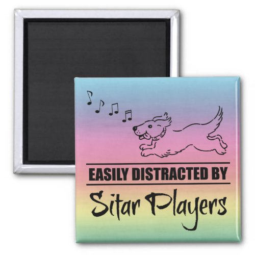 Running Dog Easily Distracted by Sitar Players Music Notes Rainbow 2-inch Square Magnet