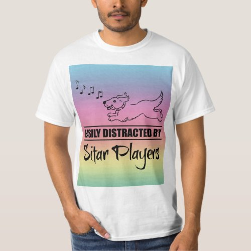 Running Dog Easily Distracted by Sitar Players Music Notes Rainbow Value T-Shirt