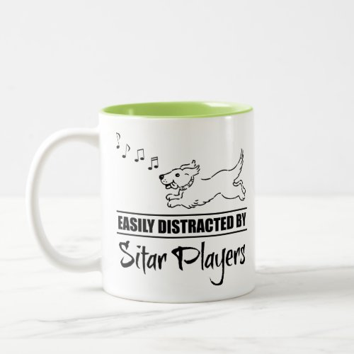 Running Dog Easily Distracted by Sitar Players Music Notes Two-Tone Coffee Mug