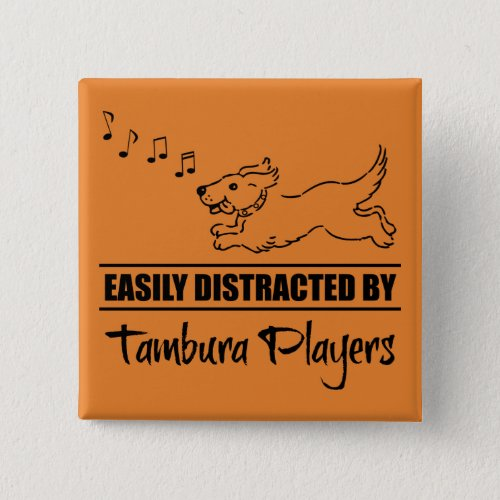 Running Dog Easily Distracted by Tambura Players Music Notes 2-inch Square Button