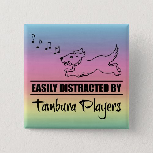 Running Dog Easily Distracted by Tambura Players Music Notes Rainbow 2-inch Square Button