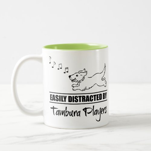 Running Dog Easily Distracted by Tambura Players Music Notes Two-Tone Coffee Mug