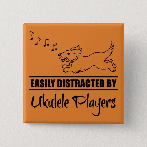 Running Dog Easily Distracted by Ukulele Players Music Notes 2-inch Square Button