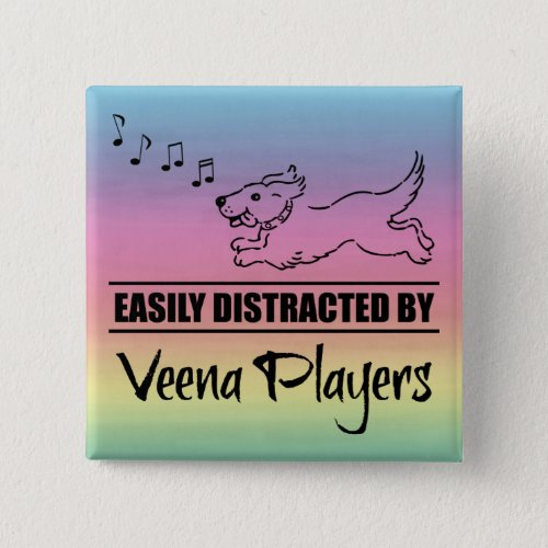 Running Dog Easily Distracted by Veena Players Notes Rainbow 2-inch Square Button