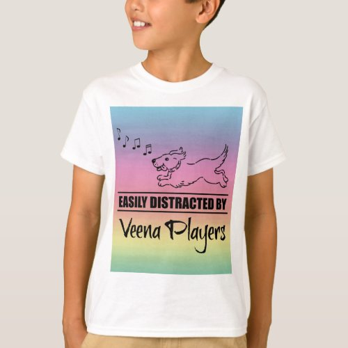 Running Dog Easily Distracted by Veena Players Music Notes Rainbow Basic T-Shirt