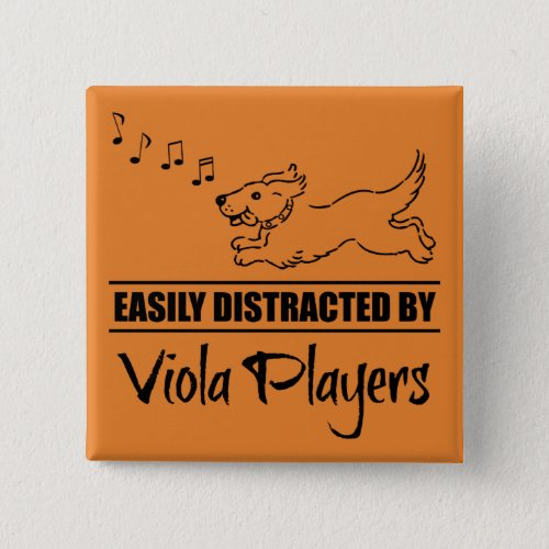 Running Dog Easily Distracted by Viola Players Music Notes 2-inch Square Button