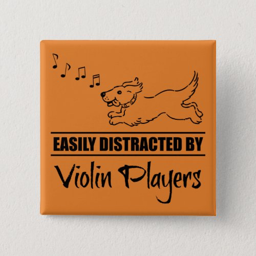 Running Dog Easily Distracted by Violin Players Music Notes 2-inch Square Button