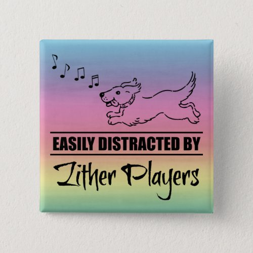Running Dog Easily Distracted by Zither Players Music Notes Rainbow 2-inch Square Button