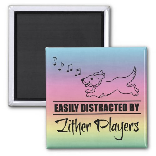 Running Dog Easily Distracted by Zither Players Music Notes Rainbow 2-inch Square Magnet