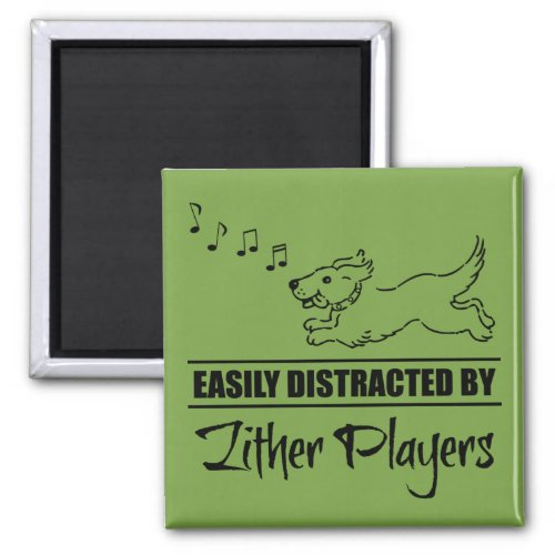 Running Dog Easily Distracted by Zither Players Music Notes 2-inch Square Magnet