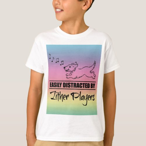 Running Dog Easily Distracted by Zither Players Music Notes Rainbow Basic T-Shirt