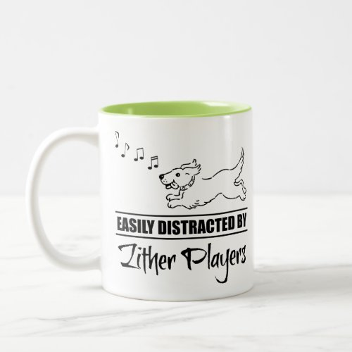 Running Dog Easily Distracted by Zither Players Music Notes Two-Tone Coffee Mug
