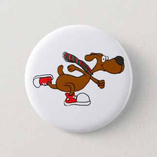 Running dog pinback button