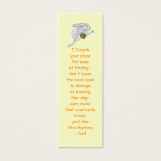 Running Easter Bunny and basket of eggs Mini Business Card