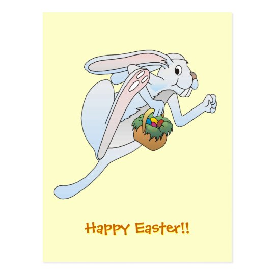 Running Easter Bunny and basket of eggs Postcard