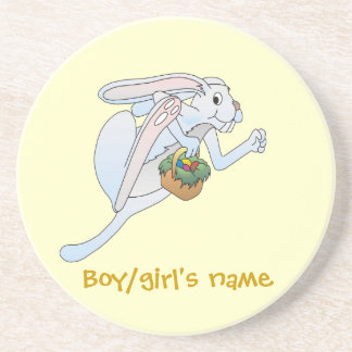 Running Easter Bunny and basket of eggs Sandstone Coaster