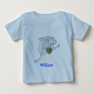Running Easter Bunny and basket of eggs Tee Shirt