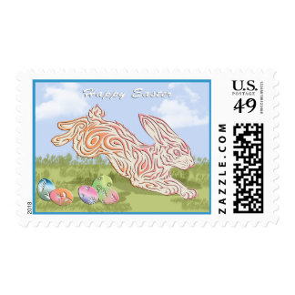 Running Easter Bunny and Eggs Happy Easter Stamp