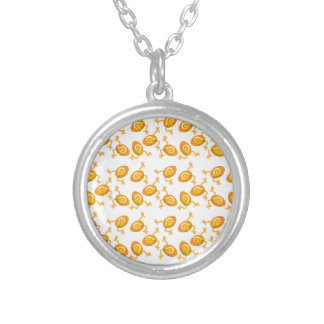 Running Easter eggs pattern Silver Plated Necklace