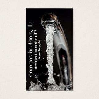 running faucet plumbing business card