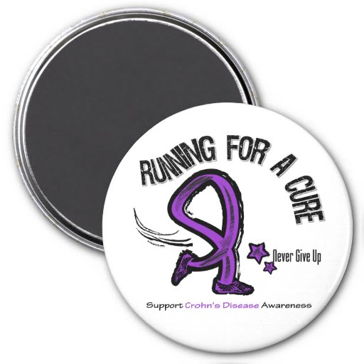 Running For A Cure Crohn's Disease 3 Inch Round Magnet