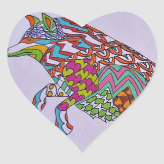 Running Fox Heart Sticker