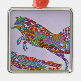 Running Fox Metal Ornament