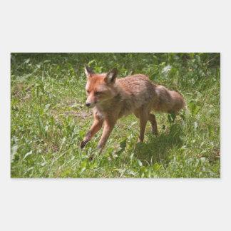 Running fox rectangular sticker