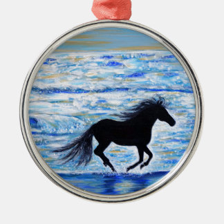 Running Free by the Sea 2 Metal Ornament