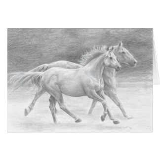 Running Free Horses Blank Note Card