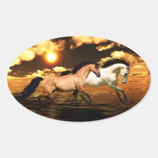 Running free oval sticker