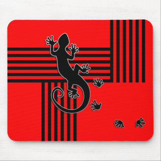 Running Gecko - black & red stripes abstract Mouse Pad