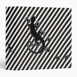 Running Gecko - black & white stripes 3 Ring Binder