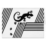 Running Gecko - black & white stripes abstract2 Cards