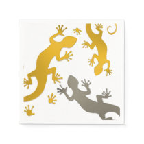 Running Gecko gold silver   your background & Idea Napkin