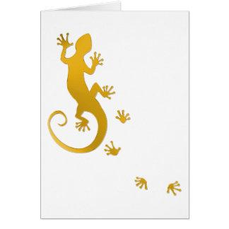 Running Gecko gold | transparent background Card
