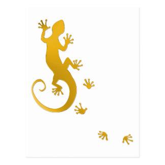 Running Gecko gold | transparent background Postcard