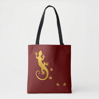 Running Gecko gold + your backgr. & ideas Tote Bag