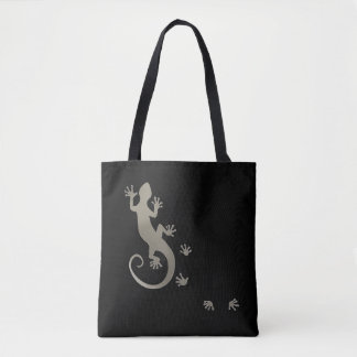 Running Gecko silver + your backgr. & ideas Tote Bag