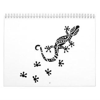 Running gecko tracks wall calendar