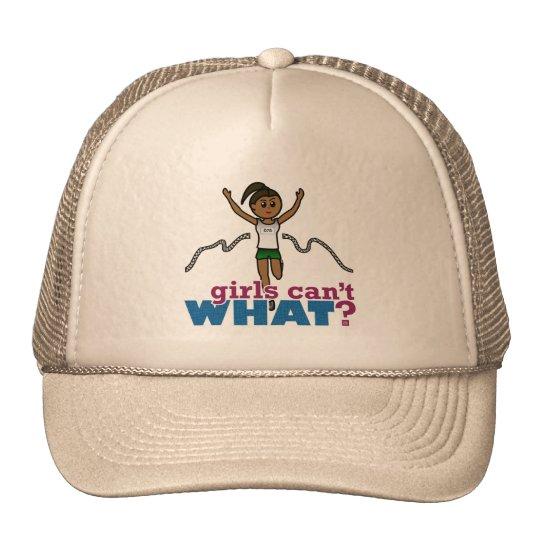 Running Girl in Green Trucker Hat