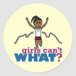 Running Girl in Red Classic Round Sticker