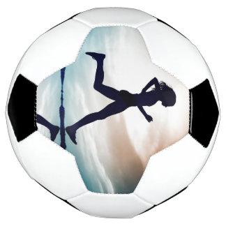 Running girl is your motivation soccer ball