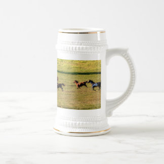 Running Herd of Horses on a Ranch Equine Photo 18 Oz Beer Stein