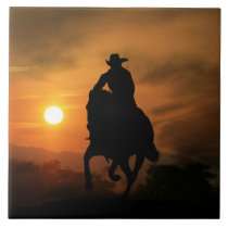 Running Horse and Cowboy Art Tile