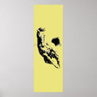Running Horse Artwork Golden Yellow Door Poster