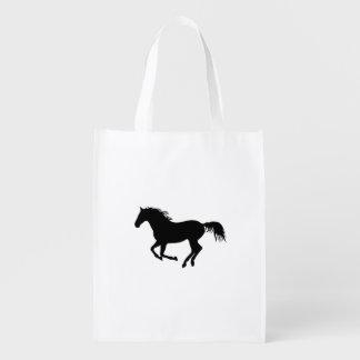 Running Horse Black Silhouette Black Horse Print Reusable Grocery Bag
