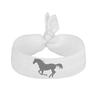 Running Horse Black Silhouette Black Horse Print Ribbon Hair Tie