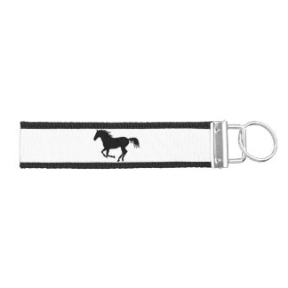 Running Horse Black Silhouette Black Horse Print Wrist Keychain