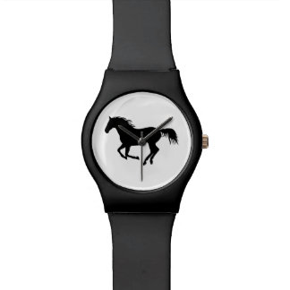 Running Horse Black Silhouette Black Horse Print Wrist Watch